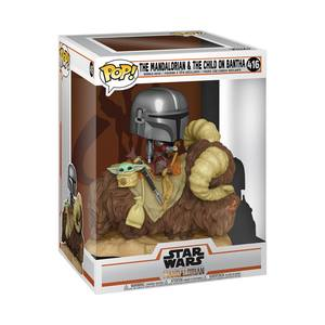 Star Wars The Mandalorian POP! Deluxe Vinyl figurine The Mandalorian on Wantha with Child in Bag Funko