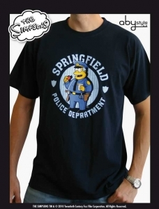 SIMPSONS T-SHIRT HOMME NAVY BLUE POLICE