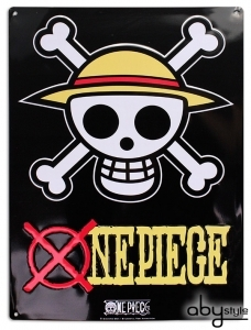 One Piece - Plaque métal Skull - Luffy 28x38cm Abystyle