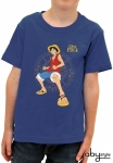 One Piece - T-shirt Luffy Fight enfant MC blue Abystyle
