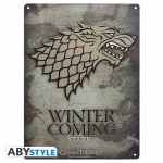 Game Of Thrones Plaque Métal Stark Winter is coming Abystyle