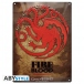 Game Of Thrones Plaque Métal Targaryen Fire & Blood Abystyle