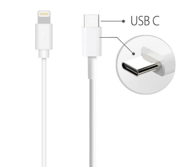 Câble USB Lightning blanc vers type-c iPhone iPad iPod Macbook