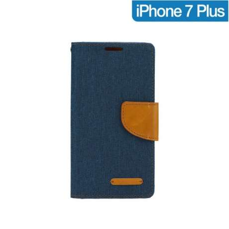 Coque Portefeuille Bleu Canvas iPhone 7 Plus