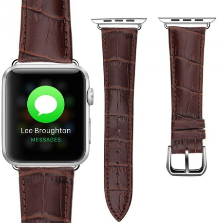 Bracelet Apple Watch 42mm Motif Cuir Crocodile Marron