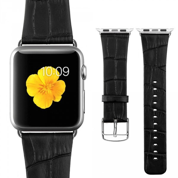 Bracelet Apple Watch 42mm Motif Cuir Crocodile Noir