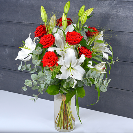 Bouquet Longues Tiges Blanc & Rouge Taille Moyenne