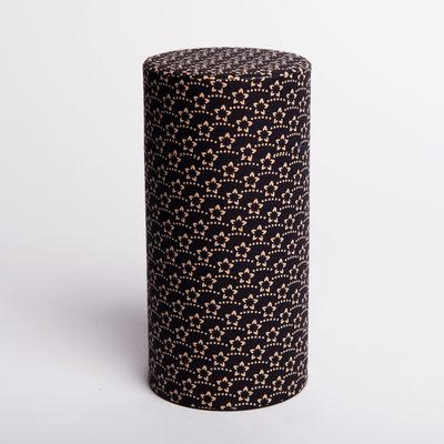 washi paper tea box black with flowers