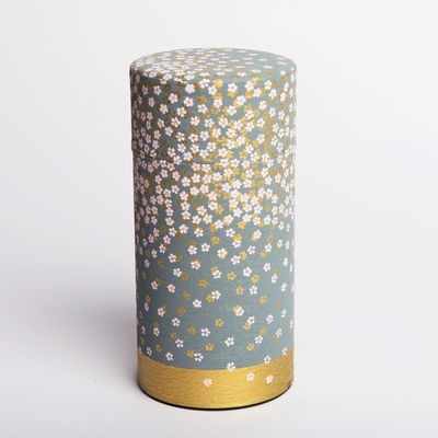 washi paper tea box grey with flowers