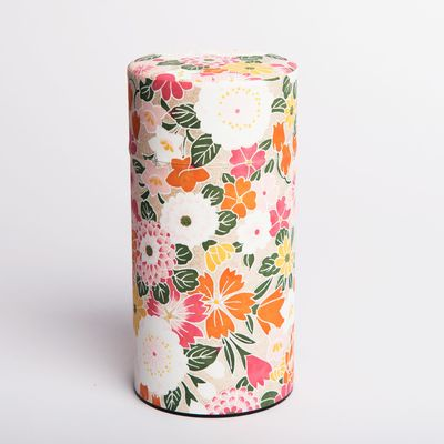 washi paper tea box white with orange flowers