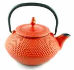 Iron cast teapot red
