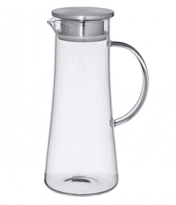 Glass jug with stainless steel lid