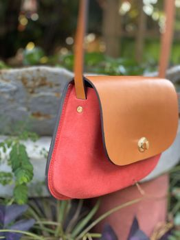 VICTOR ROUGE GOLD sac moulé cuir & velours