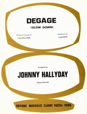 Partition Johnny HALLYDAY Dégage (Slow Down)