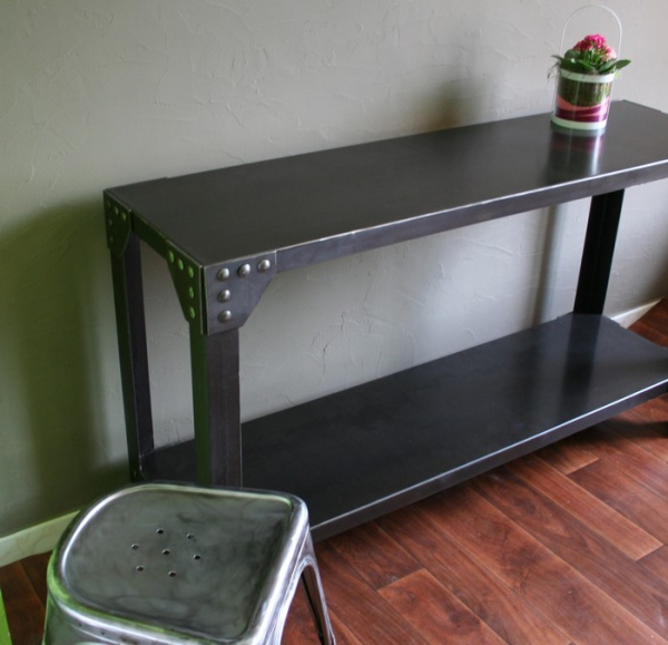 console industrielle rivets meuble industriel. Black Bedroom Furniture Sets. Home Design Ideas