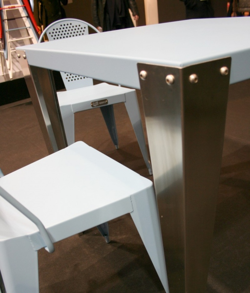 Table bistrot carr e pieds inox table design - Table bistrot carree ...