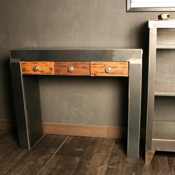 console acier brut verni tiroirs couleurs console tiroir. Black Bedroom Furniture Sets. Home Design Ideas