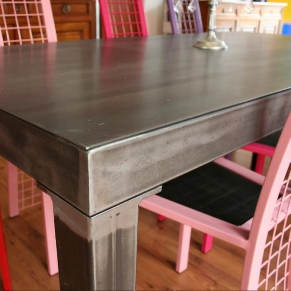 Table haute metal brut