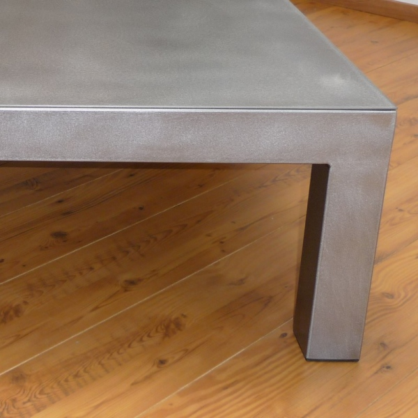 Table basse carr e acier bross table basse design - Table basse acier brosse ...