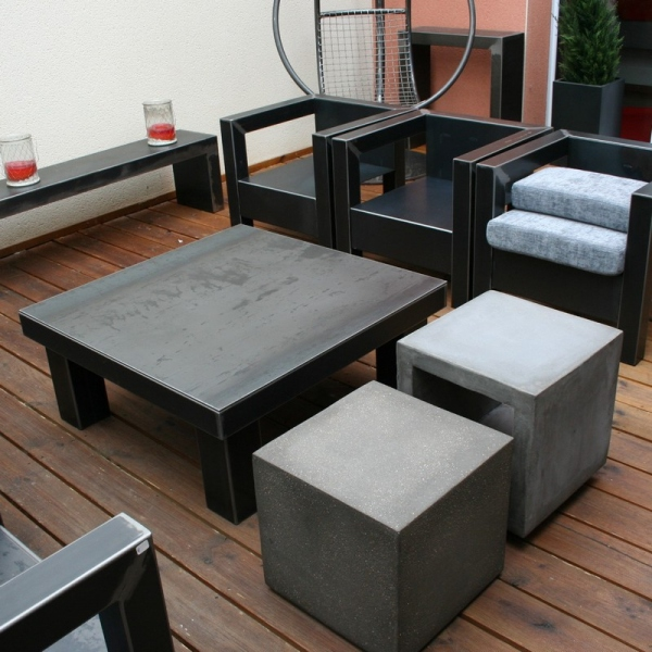 Table Cube beton 40x40x40h