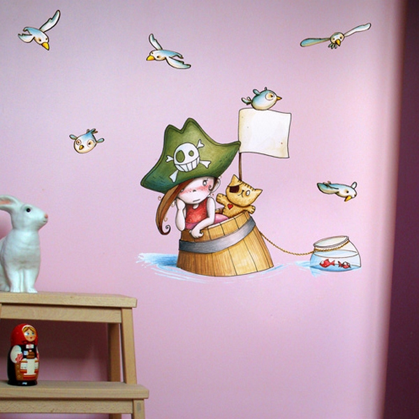 sticker le pirate et les mouettes sticker enfant. Black Bedroom Furniture Sets. Home Design Ideas