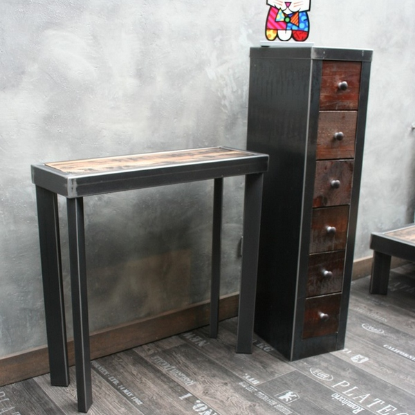console m tal brut plateau bois mobilier industriel. Black Bedroom Furniture Sets. Home Design Ideas