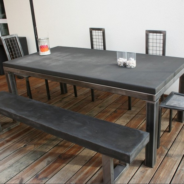 Table manger industrielle b ton table salle manger - Table a manger beton ...