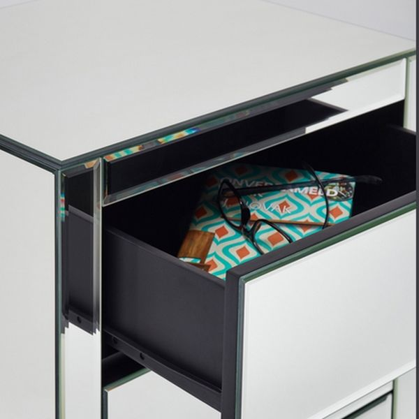 Table de chevet miroir