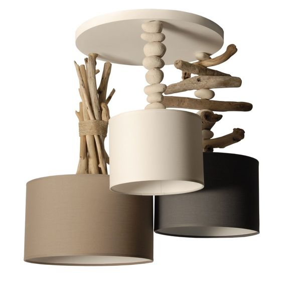 Lampe suspension bois flotté