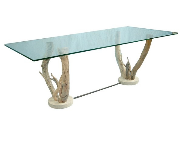 Table basse verre sur pieds bois flott table basse design for Table basse bois flotte