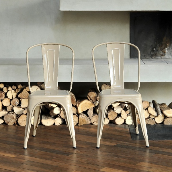 4 Chaises A Tolix blanches