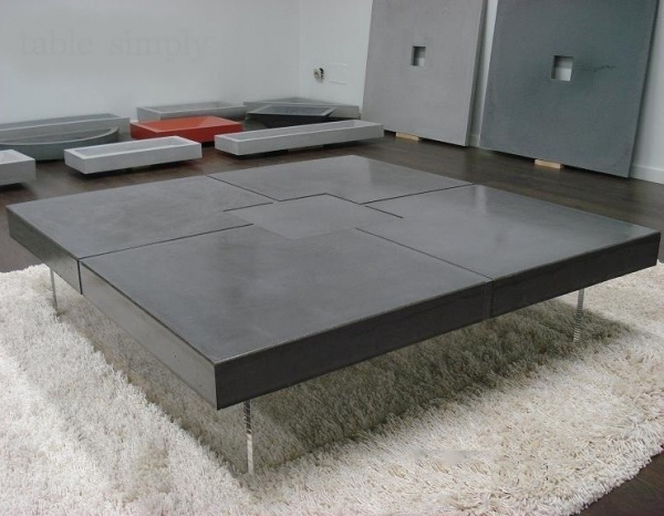 Table design b ton cir gris fonc meuble design - Table de salon en beton cire ...