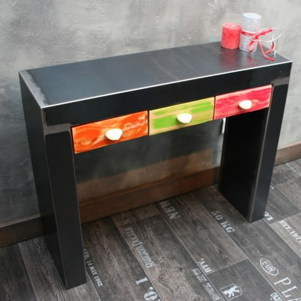 console metal brut 3 tiroirs galets console tiroir meuble console entree. Black Bedroom Furniture Sets. Home Design Ideas