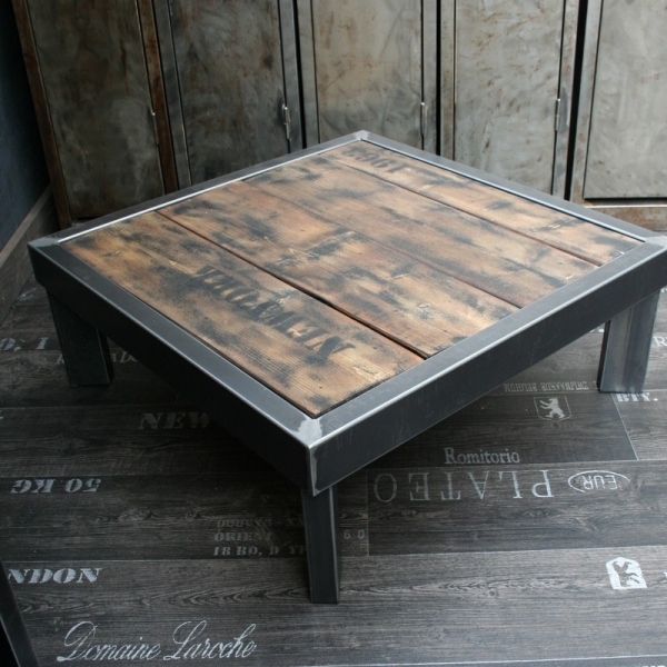 Table design table basse design table m tal design loftboutik - Proteger une table en bois brut ...