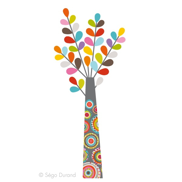 sticker mural arbre multicolore stickers enfant. Black Bedroom Furniture Sets. Home Design Ideas
