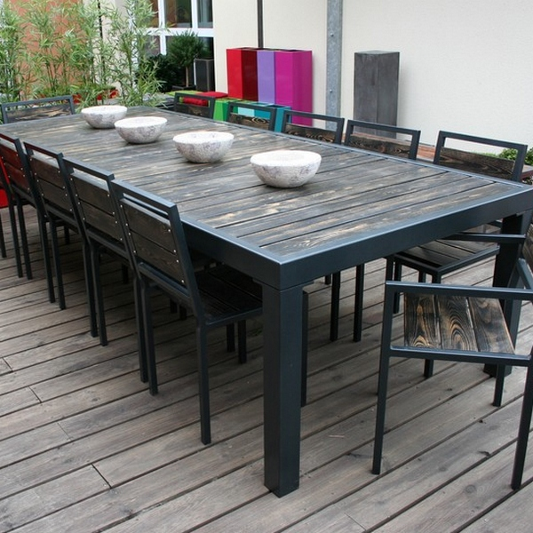 Table m tal et plateau bois vieilli table design table for Table bois metal design