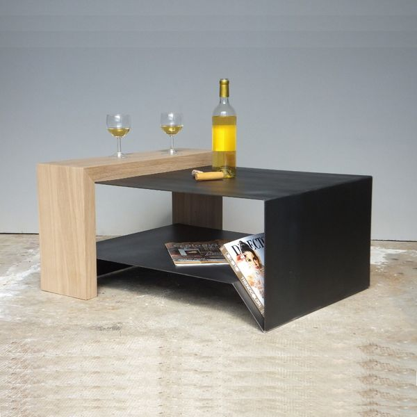 table basse bois et m tal table basse design. Black Bedroom Furniture Sets. Home Design Ideas