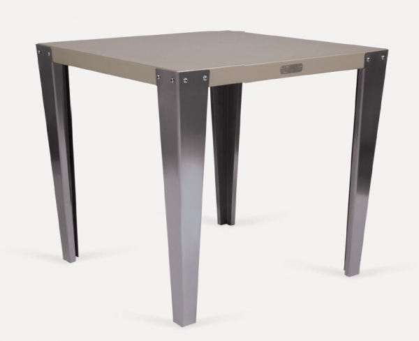 table bistrot carr e pieds inox table design. Black Bedroom Furniture Sets. Home Design Ideas