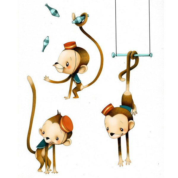stickers animaux - petits singes