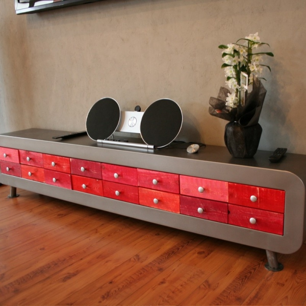 meuble t l moderne en metal meuble tv design. Black Bedroom Furniture Sets. Home Design Ideas