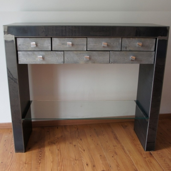 Console metal contemporaine meuble console console design for Console avec tiroir meuble entree