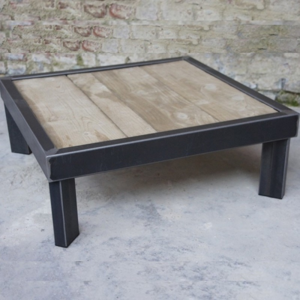 Table basse bois metal sur pied table basse design - Table salon palette ...