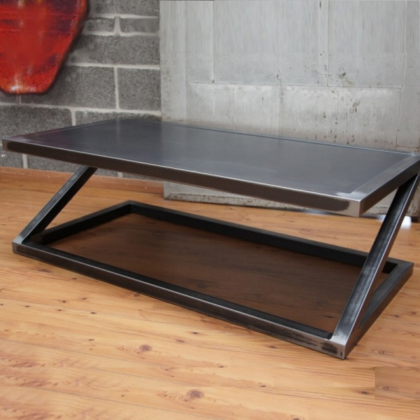 Table basse metal zed table basse design table de - Table salon metal ...