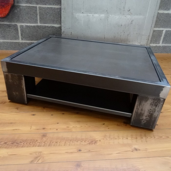 Table basse design m tal table beton table basse design - Table salon metal ...