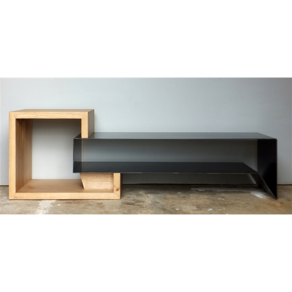 meuble tv m tal et bois meuble tv. Black Bedroom Furniture Sets. Home Design Ideas