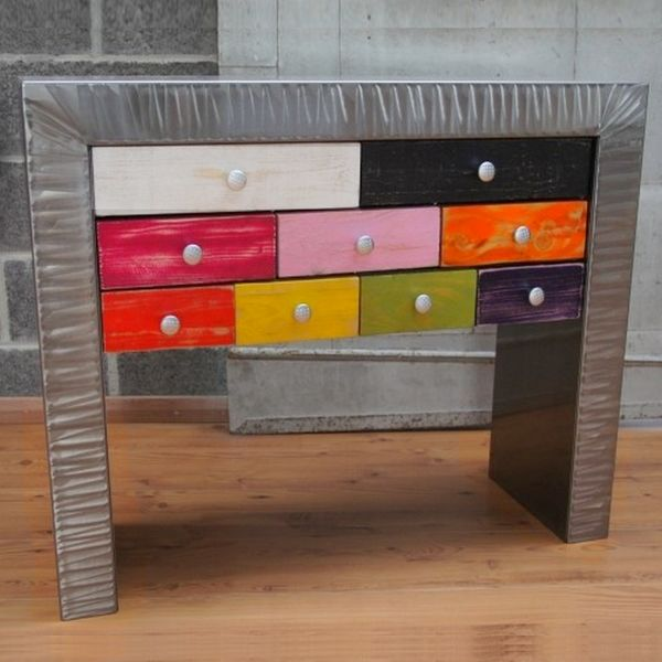 Console commode tiroirs m tal multico console design - Console commode ...