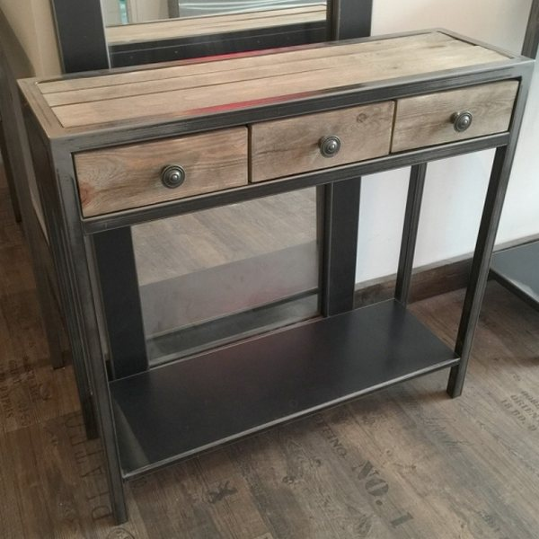 Console metal meuble console table console design - Roulette industrielle pour meuble ...