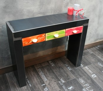 console metal brut 3 tiroirs galets console tiroir. Black Bedroom Furniture Sets. Home Design Ideas