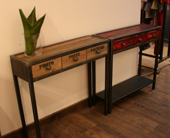 console m tal et bois tiroir rouge console tiroir. Black Bedroom Furniture Sets. Home Design Ideas