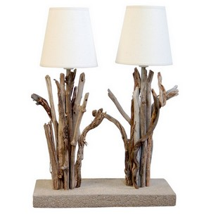 Lampe bois flott blanche lampe design for Lampe en bois flotte creation